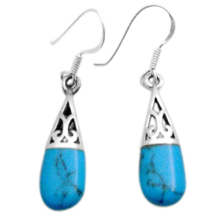 Classy Turquoise Sterling Silver Inlay Beautiful & Elegant Earrings