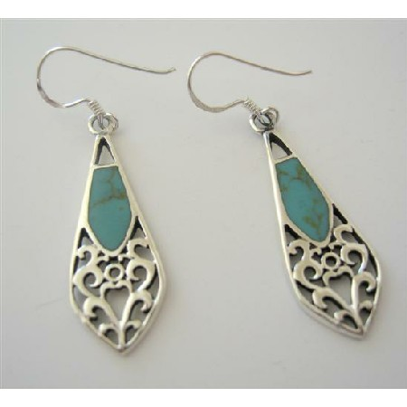 Green Turquoise Classy Inlay Sterling Silver Earrings
