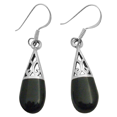 Onyx Inlaid Sterling Silver 925 Stylish Onyx Teardrop Earrings