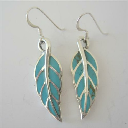 Green Turquoise Sterling Silver Inlaid Leaf Shaped Earrings