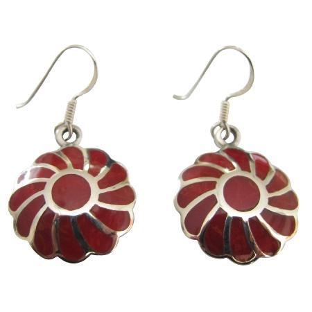 Coral Inlay Flower Earrings 925 Silver Sterling Silver Earring