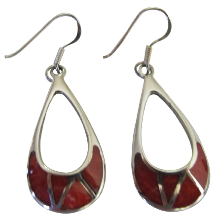 Coral Inlay Sterling Silver 925 Inlaid Sterling Silver Earrings