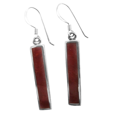 Cool Sexy Sterling Silver 92.5 Coral Red Silver 925 Earrings