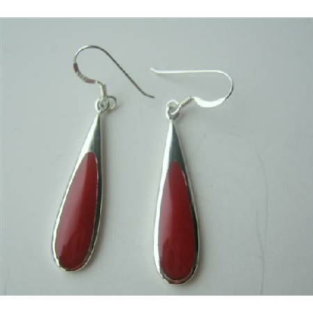 Sterling Silver Red Coral Earrings Sterling 92.5 Earrings