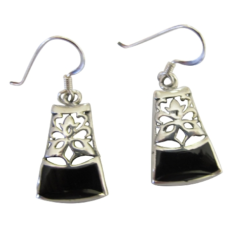 Onyx Inlaid Sterling Silver 92.5 Oxidized Earrings Silver Gift
