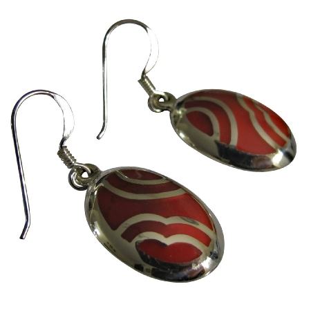 Funky Stylish Coral Red Stone Inlay Sterling Silver 92.5 Earrings