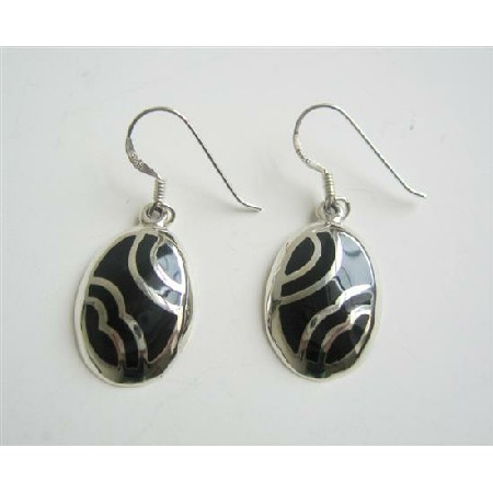 Striking Sterling Silver Inlay Black Onyx Silver 92.5 Earrings