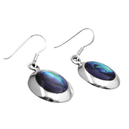 Abalone Earrings Sterling Silver 92.5 Inlaid Leaf Shaped Earrings