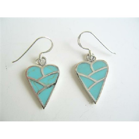 Adorable Sterling Silver 92.5 Earrings Turquoise Heart Earrings