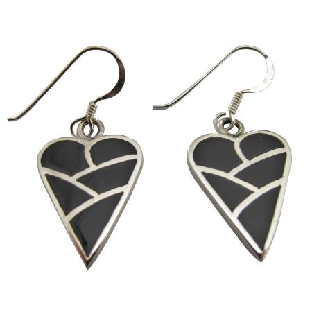 Sterling Silver Heart 92.5 Sterling Silver Onyx Heart Earrings