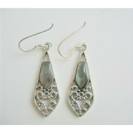 Shell Embedded Sterling 92.5 Silver Earrings Inlay Earrings