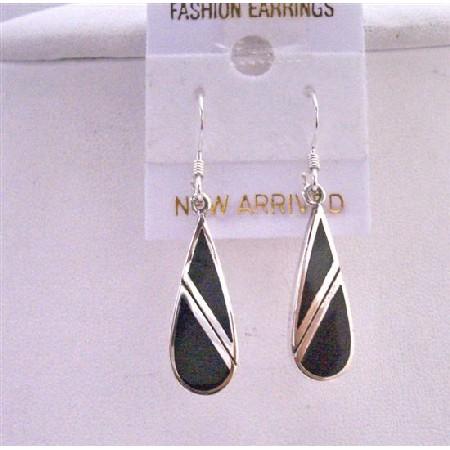 92.5 Sterling Silver Onyx Earrings Designed Stylish Gorgeous Earrings