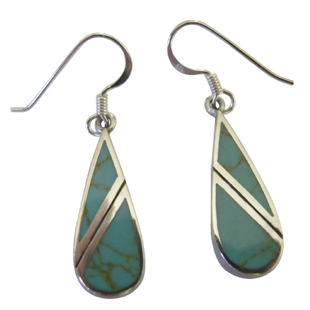 Turquoise Green Earrings 92.5 Sterling Silver Onyx Earrings