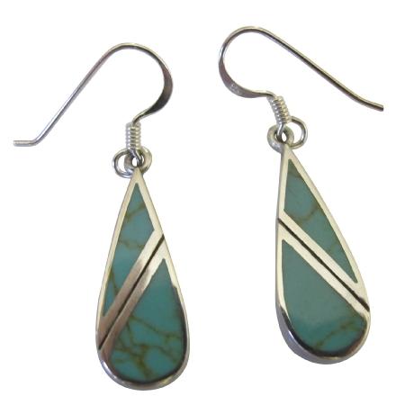 Turquoise Green Earrings 92.5 Sterling Silver Onyx Earrings