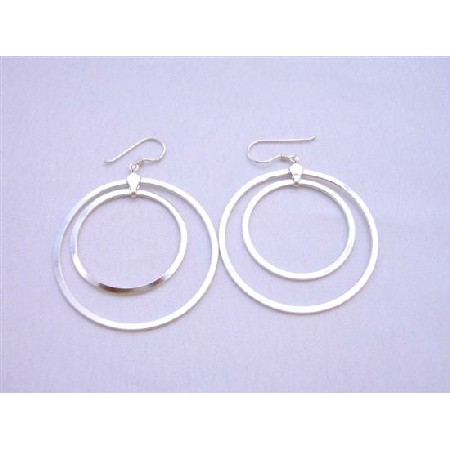 Double Hoop Earrigns Sterling Silver Hoop Earrings Weight 7.9 gms