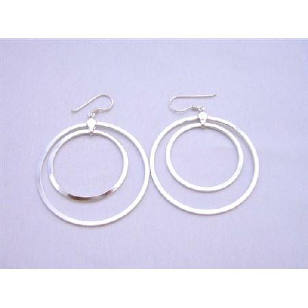 Double Hoop Earrigns Sterling Silver Hoop Earrings Weight 7.9 gms