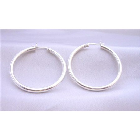 Sterling Silver Wire Hoop Earrings Endless Hoop Earring Weight 9.5 gms