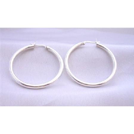 351342730 Sterling Silver Wire Hoop Earrings Endless Hoop Earring Weight 9.5 ...