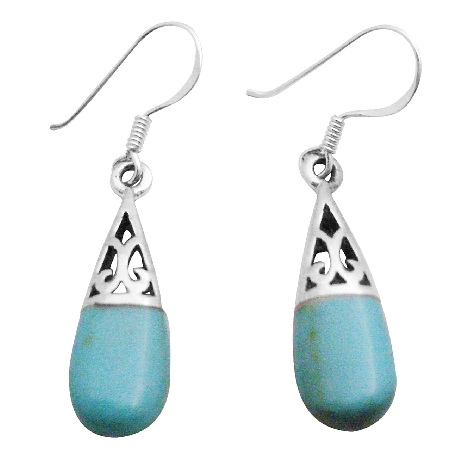 Silver 92.5 Sterling Inlay Turquoise Earrings Beautiful Green Teardrop