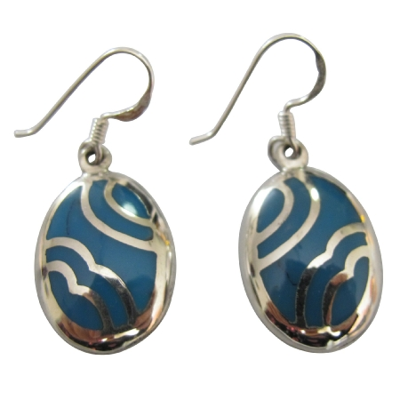 Fashionable Sterling Silver Affordable Turquoise Inlaid Earrings