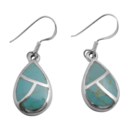 Inexpensive Green Turquoise Inlaid Sterling Silver Gift Jewelry