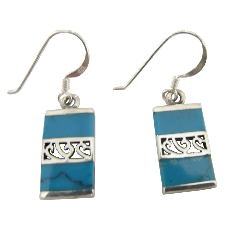 Dark Spider Turquoise Inlaid Sterling Silver 925 Earrings Jewelry