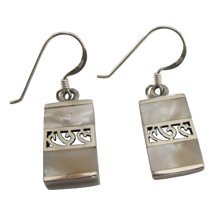 Affordable Sterling Silver Earrings Mother Of Pearls Inlaid Earrings