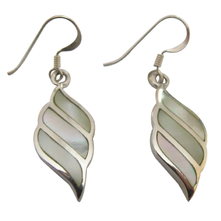 Mother Of Pearl Lime Sterling Silver Earring 92.5 Stamped Earrings