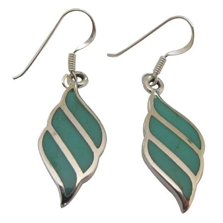 Sterling Silver 92.5 Cute Earrings Turquoise Inlaid Earrings