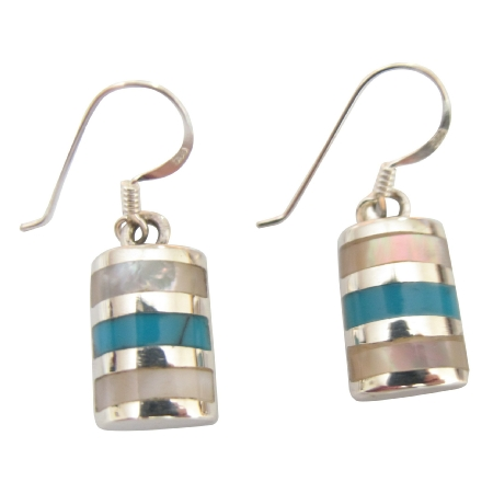 Sterling Silver 925 Earrings w/ Dark Spider Turquoise Inlaid Jewelry