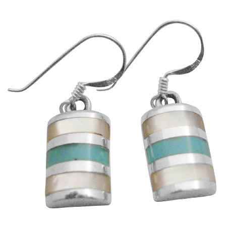 Affordable Sterling Silver 925 Jewelry Green Turquoise Inlaid Earrings