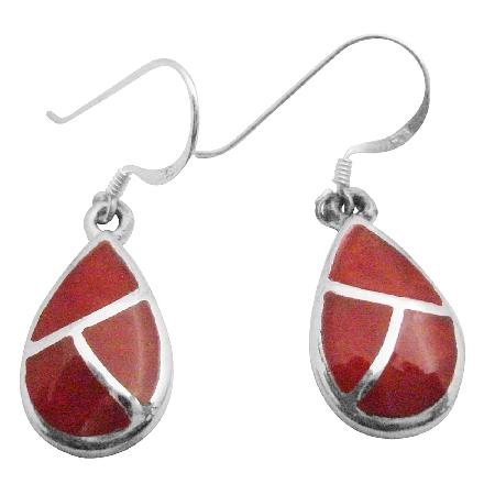 Coral Earrings w/ Silver Stripe Modern & Artsy Coral Inlay Earrings