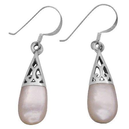 White Opal Inlay Teardrop Earrings Girl Friend Gift Beautiful Teardrop