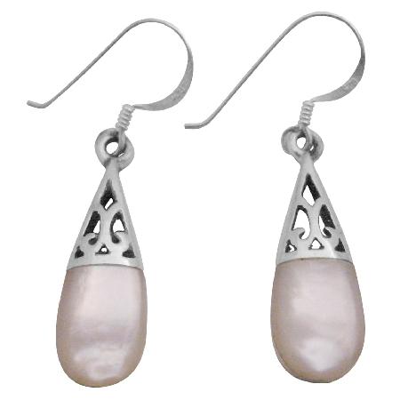 White Opal Inlay Teardrop Earrings Girl Friend Gift Beautiful Teardrop