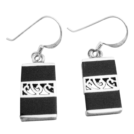 Gift For Wife Sterling Silver Onyx Inlay Modern Gift Earrings