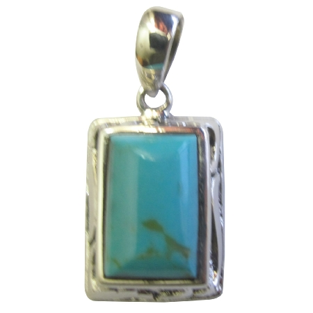 Sterling Silver Turquoise Stone Rectangle Wave Slide Pendant