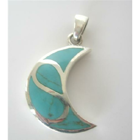 Moon Sterling Silver Pendant Inlaid Turquoise Sterling Silver Pendant
