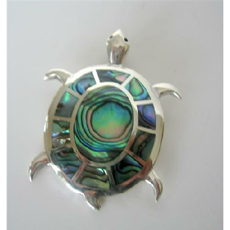 Turtle Abalone Shell STERLING Silver PENDANT Weight 15.4 gm
