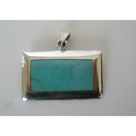Turquoise Green Rectangle Pendant Sterling Silver Pendant