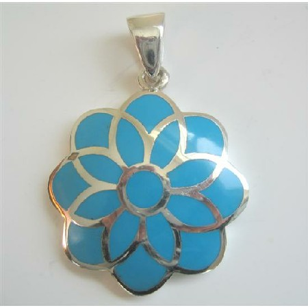 Turquoise flower sterling silver flower pendant blue turquoise flower sterling silver flower pendant aloadofball Choice Image