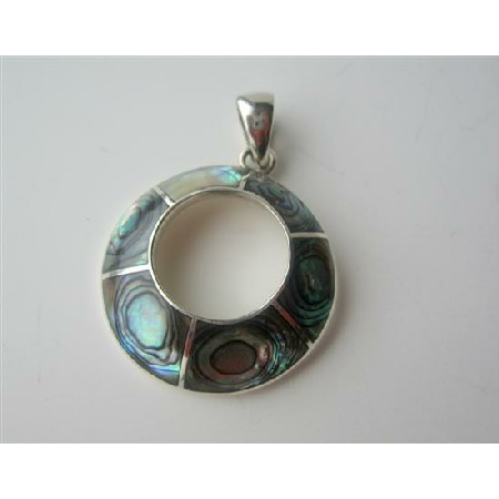 Abalone Inlaid Round Pendant Sterling Silver Round Pendant