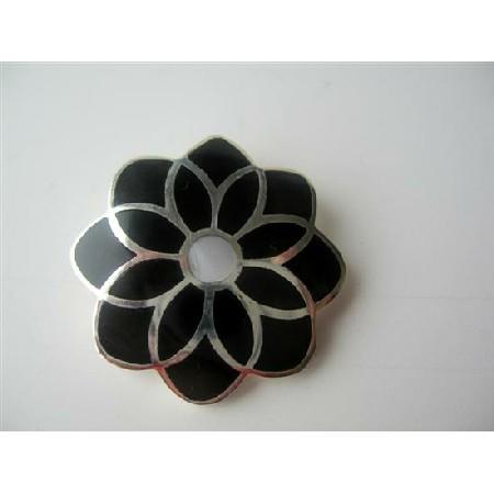 Onyx Inlaid Sterling Silver Onyx Black Flower Pendant