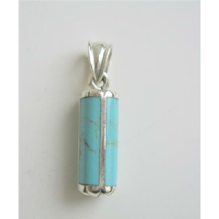 Vintage Turquoise Green Sterling Silver Pendant Weight 7.5gm