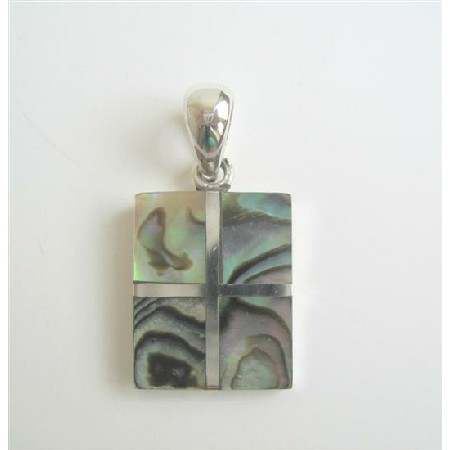 Square Abalone Sterling Silver Pendant Weight 6.5 gm