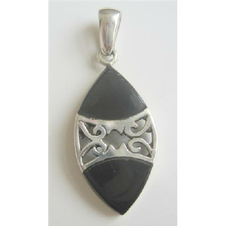 Pure Sterling Silver Pendant 92.5 w/ Onyx Inlay Pendant Weight 6.7 gm