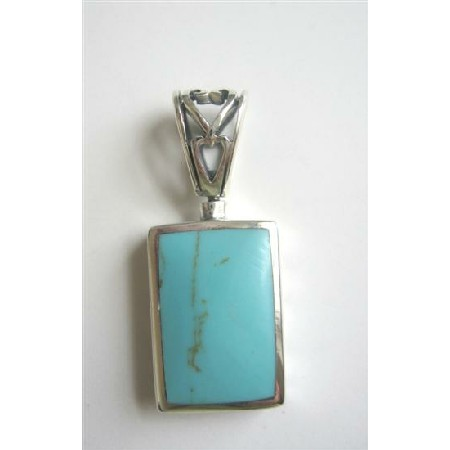Ethnic Designed Sterling Silver Square Inlay w/ Turuquosie Green