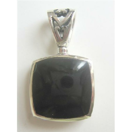 Flat Square Onyx Sterling Silver Pendant