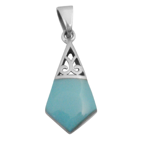 Sterling Silver Green Turquoise Inlaid Artistically Designed Pendant