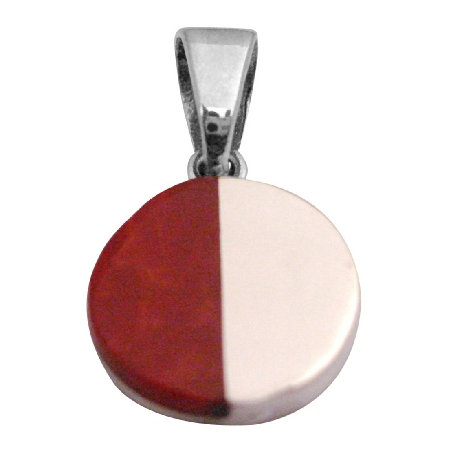 Cute Round Sterling Silver Pendant Half Shaded Coral Sterling Pendant