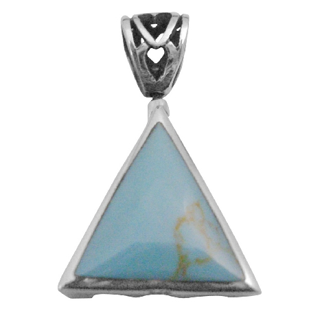 Sterling Silver Jewelry Green Turquoise Self Designed Silver Pendant
